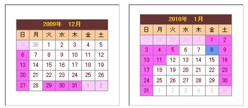 12月と1月のカレンダー